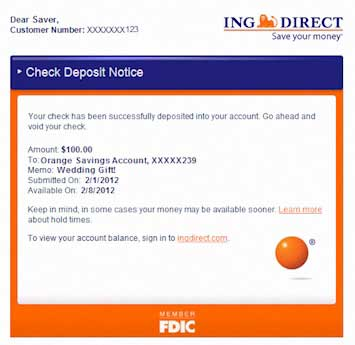 ING Direct Remote Deposit